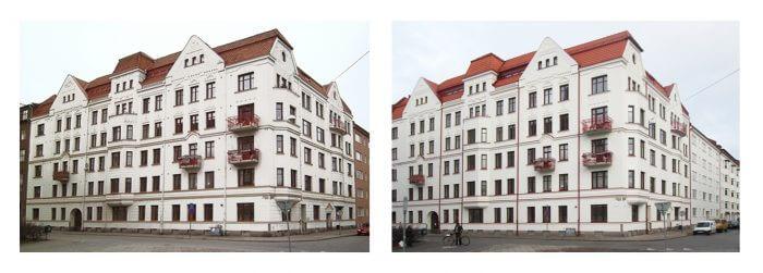 Renovering av tak, fasad och fönster (bilder före och efter).