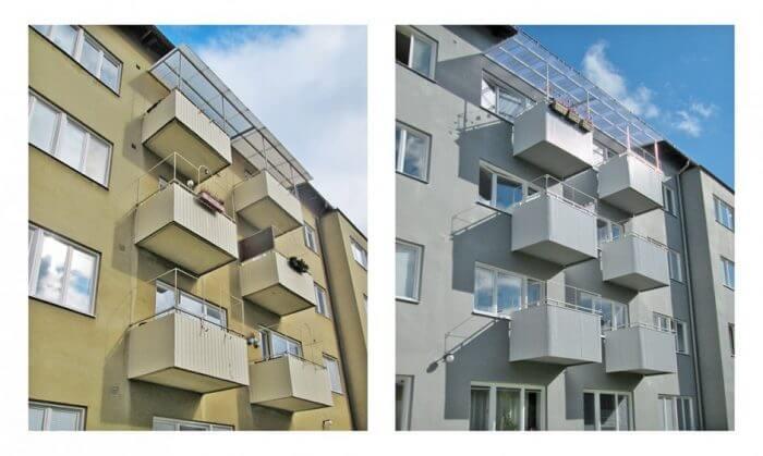 Renovering av balkonger, fasad och fönster (bilder före och efter).